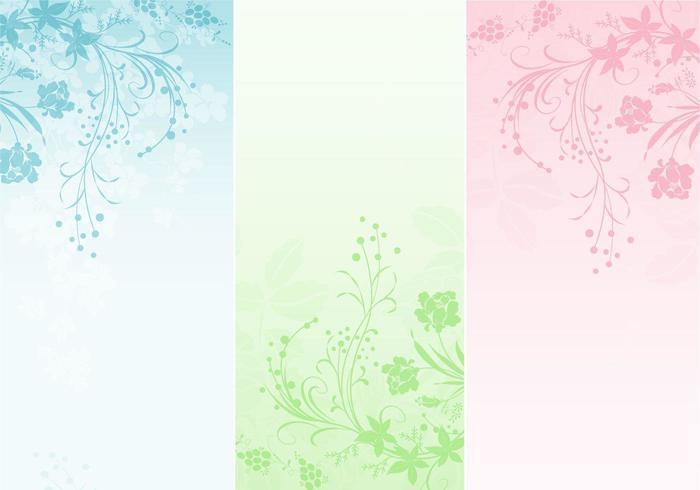 Pastel Floral Banner Vector Pack