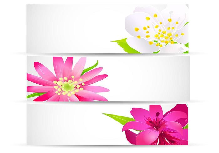 Bright Floral Banner Vector Pack