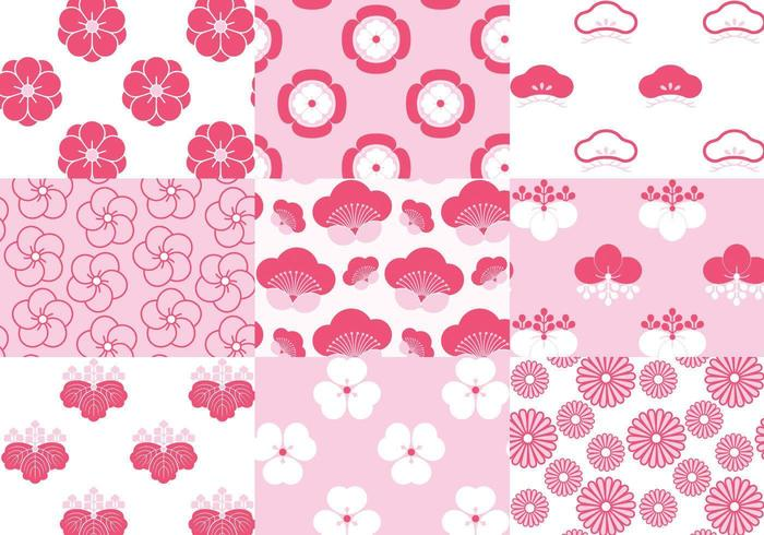 Japanese Blossom Floral Pattern Vector Pack