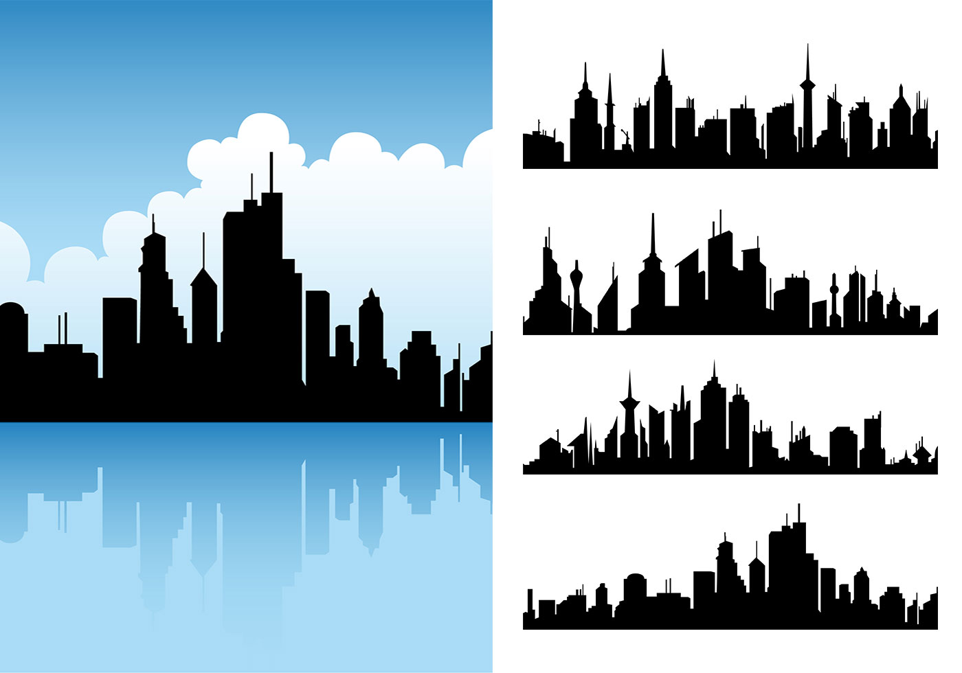city skyline vector pack download free vector art  stock detroit skyline vector free detroit skyline outline vector