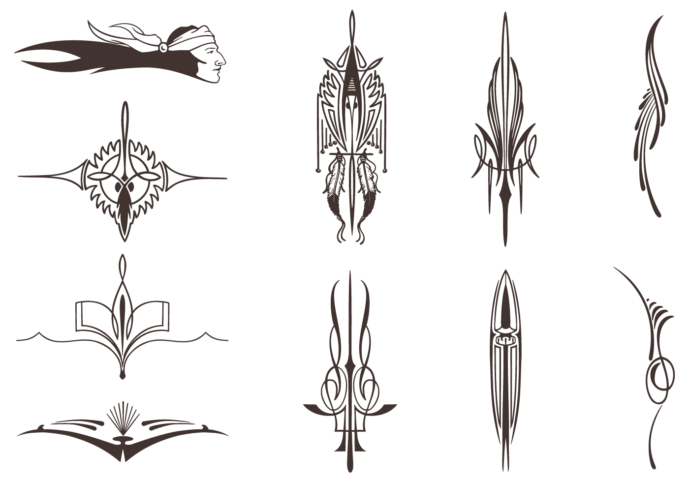 Native American Vector Elements Pack Download Free