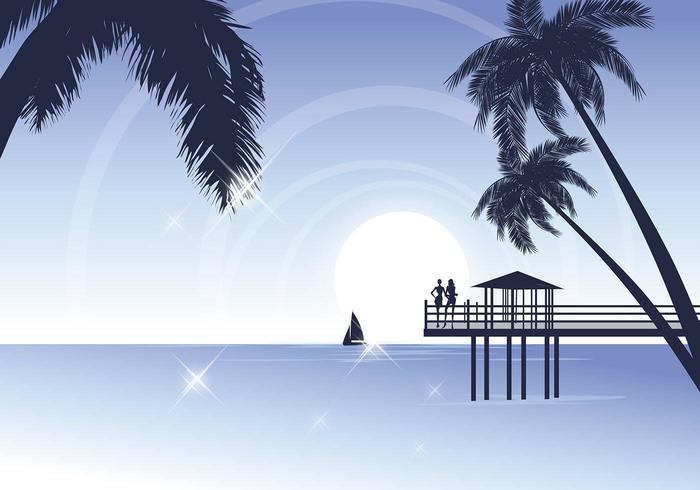 Tropical Beach Vector Wallpaper