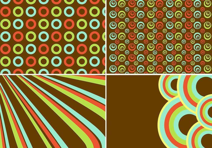 Vector de fondo retro y patrón conjunto de vectores