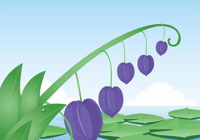 Purple Flower and Lotus Leaves Vector Wallpaper