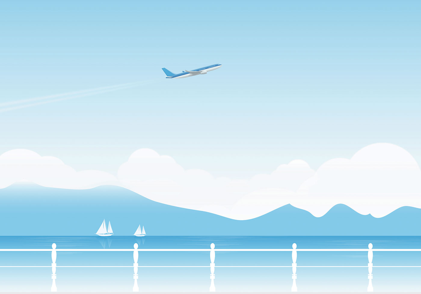 Airplane And Lake Vector Wallpaper Download Free Vectors