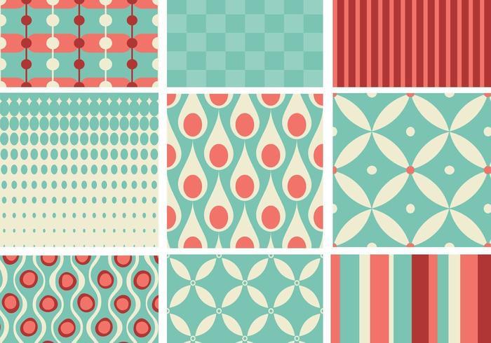 Pack de patrones retro en verde azulado y coral vector