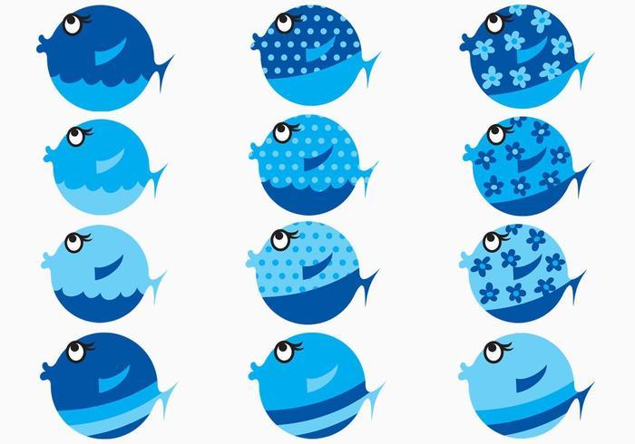 Blauer Karikatur-Fisch-Vektor-Satz