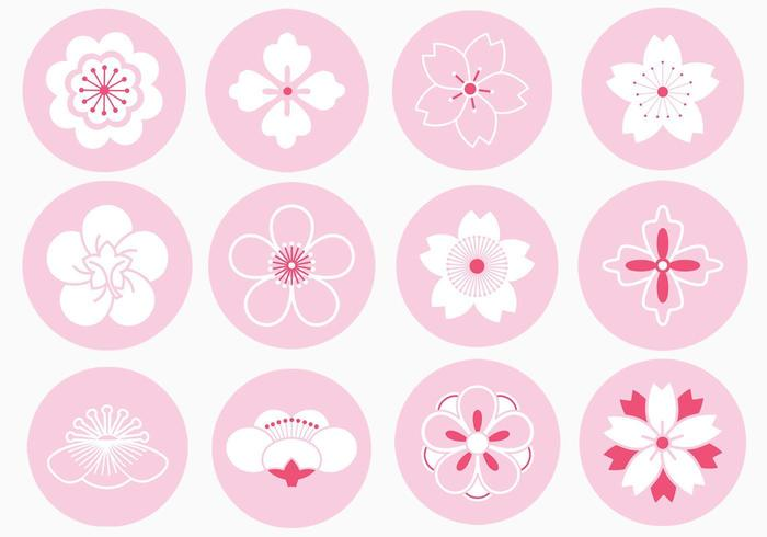 Japanischer Blumen-Verzierungs-Vektor-Satz