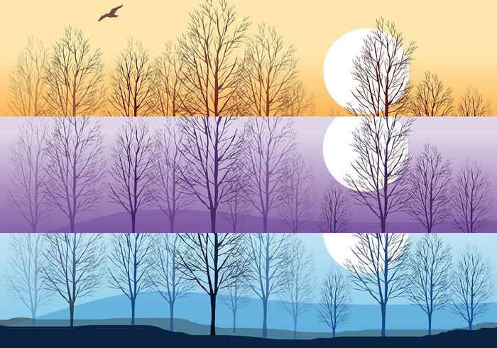 Silhouette Trees Wallpaper Vector Pack