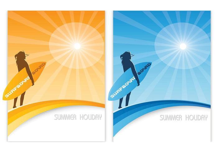 Surfen Sie Sommer Wallpaper Vector Pack