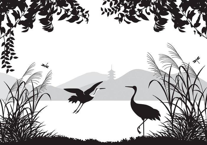 Fonds d'écran Paysage Asiatique avec Herons Vector Pack