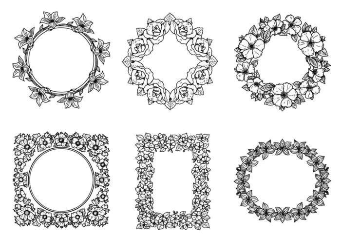 Hand Drawn Floral Frame Vector Pack