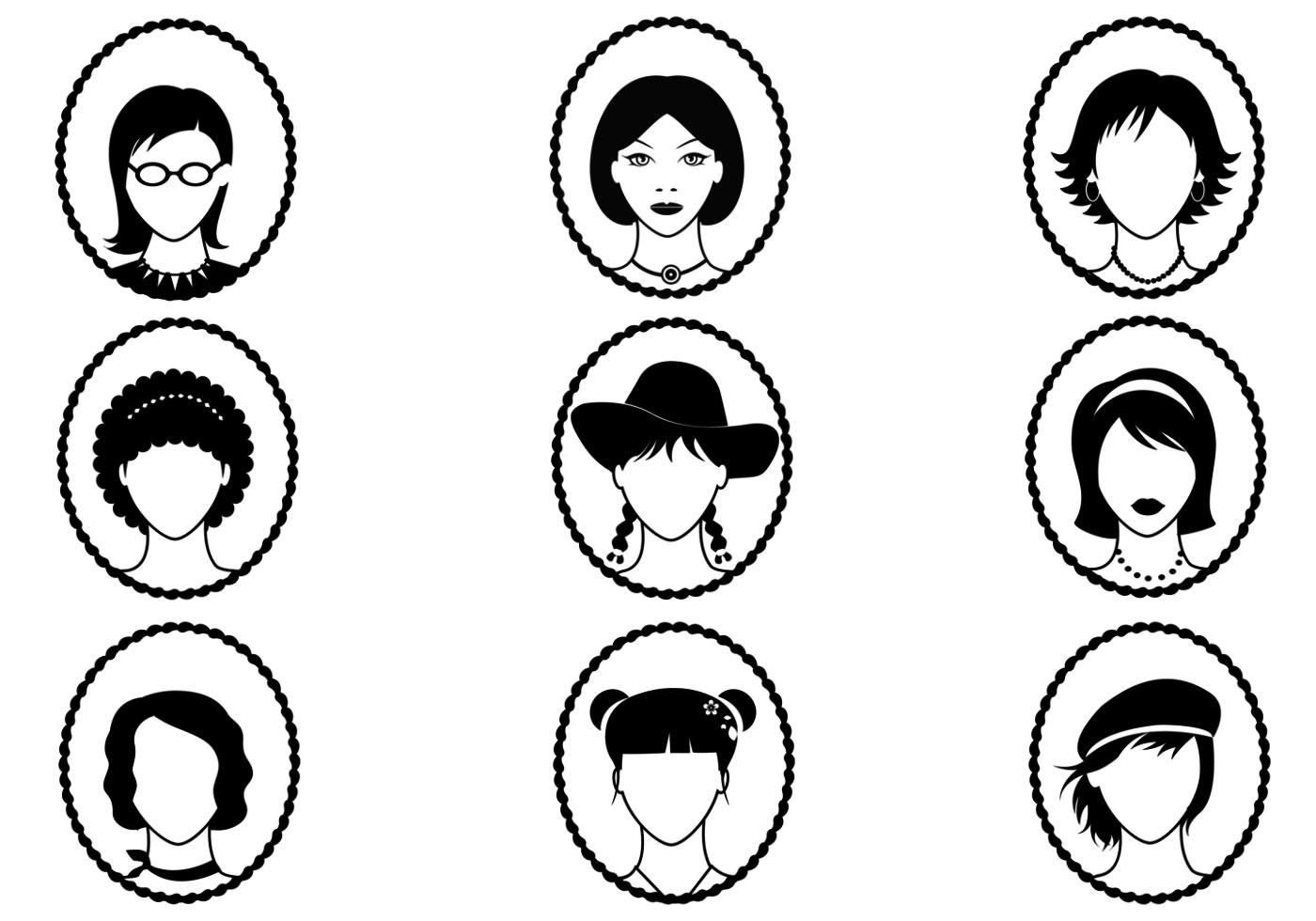 Mujer Avatar Y Silueta Paquete De Vectores