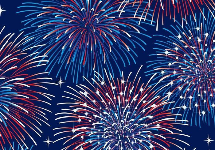 Vettore patriottico del fondo dei fuochi d'artificio