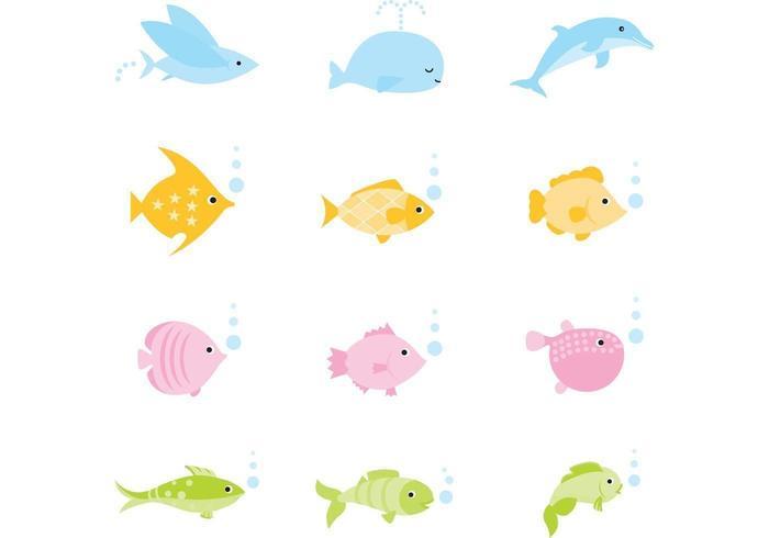 Gullig tecknad fisk, val och delfiner vektor