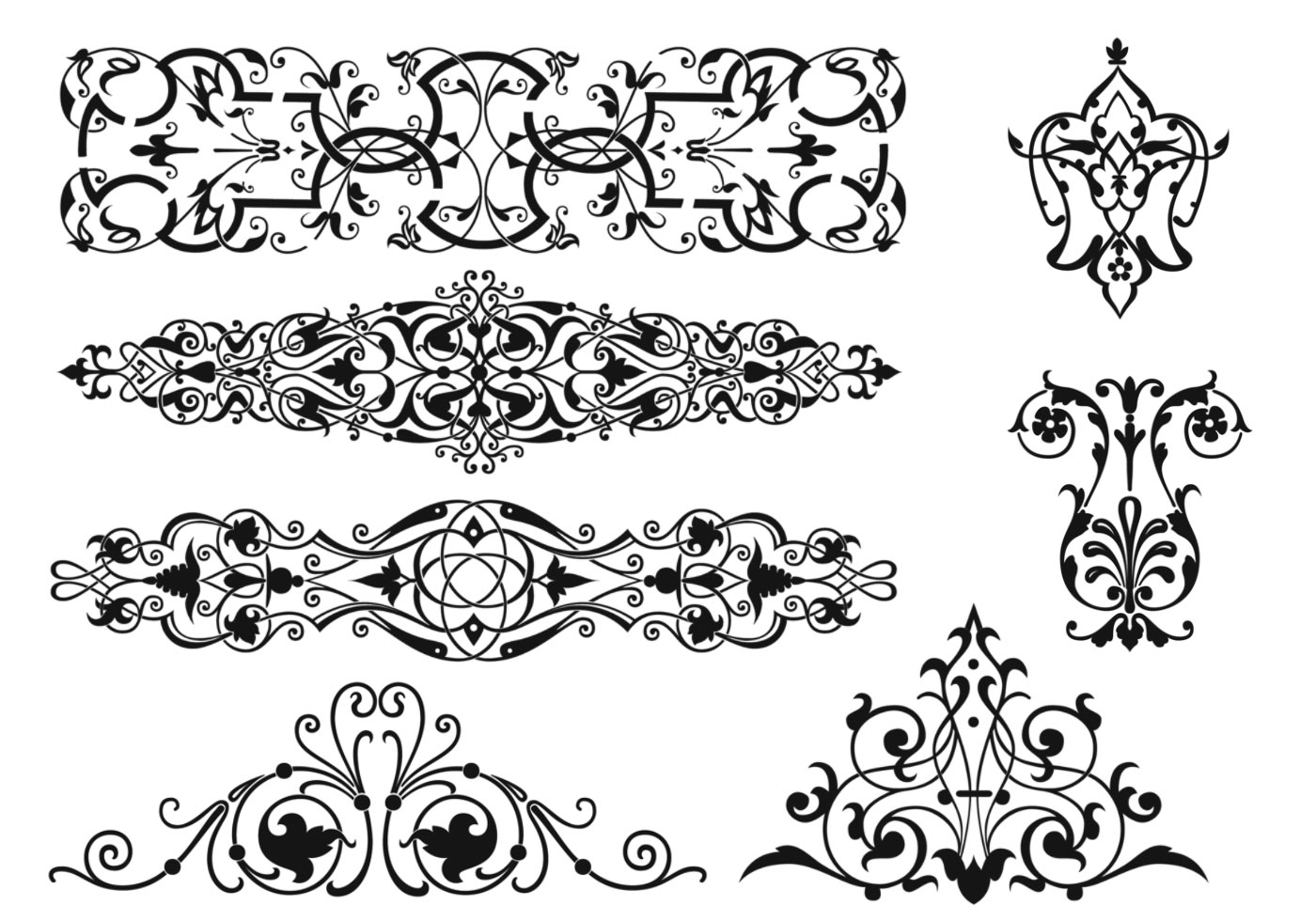 art nouveau ornament vector pack download free vector art stock graphics images. Black Bedroom Furniture Sets. Home Design Ideas