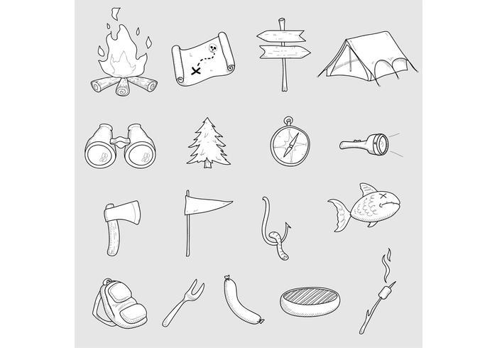 Camping Vector Doodles
