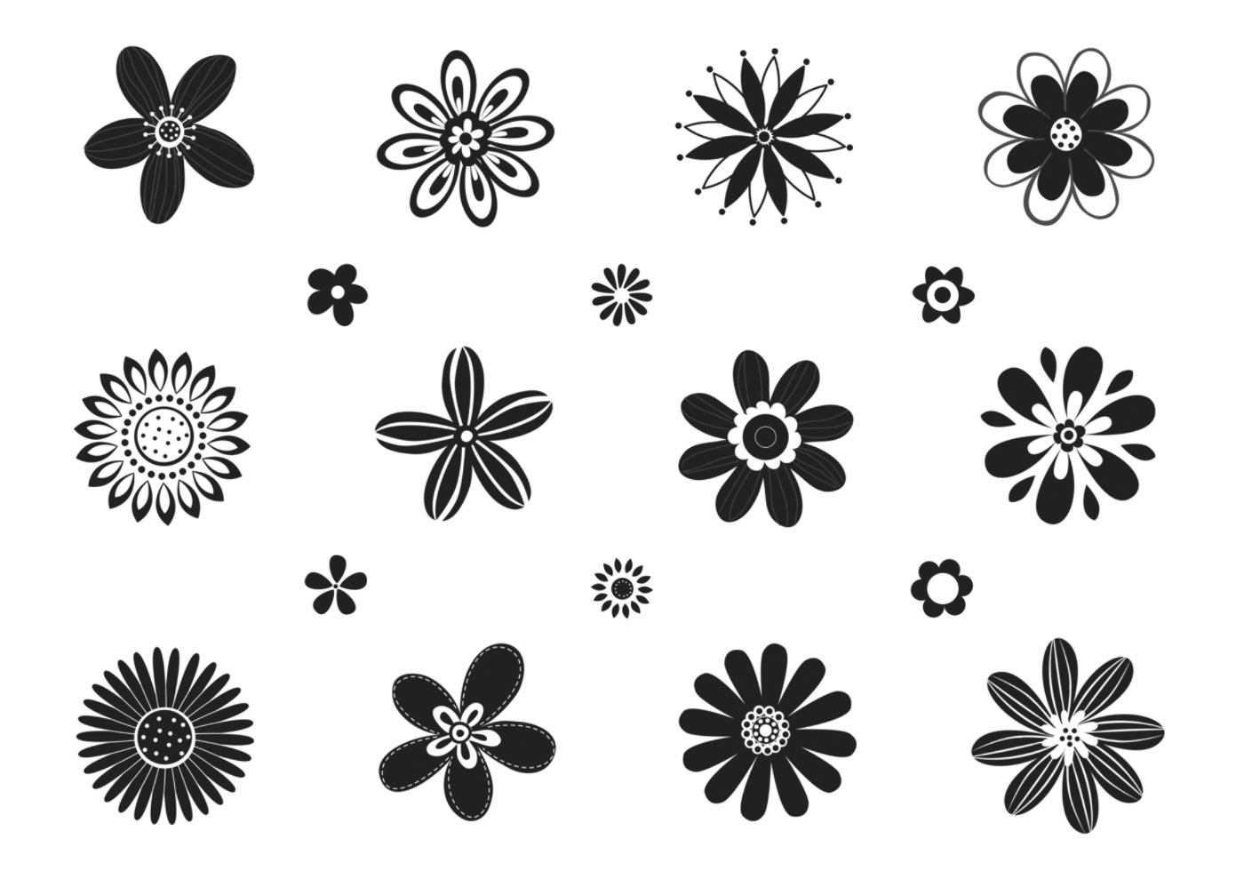 Stylized Black And White Flower Vector Pack Download Free Vector