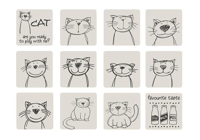 Hand Drawn Cat Vector Pack