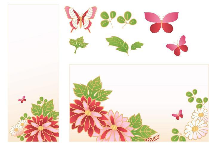Pink Flower Banner Vector Pack