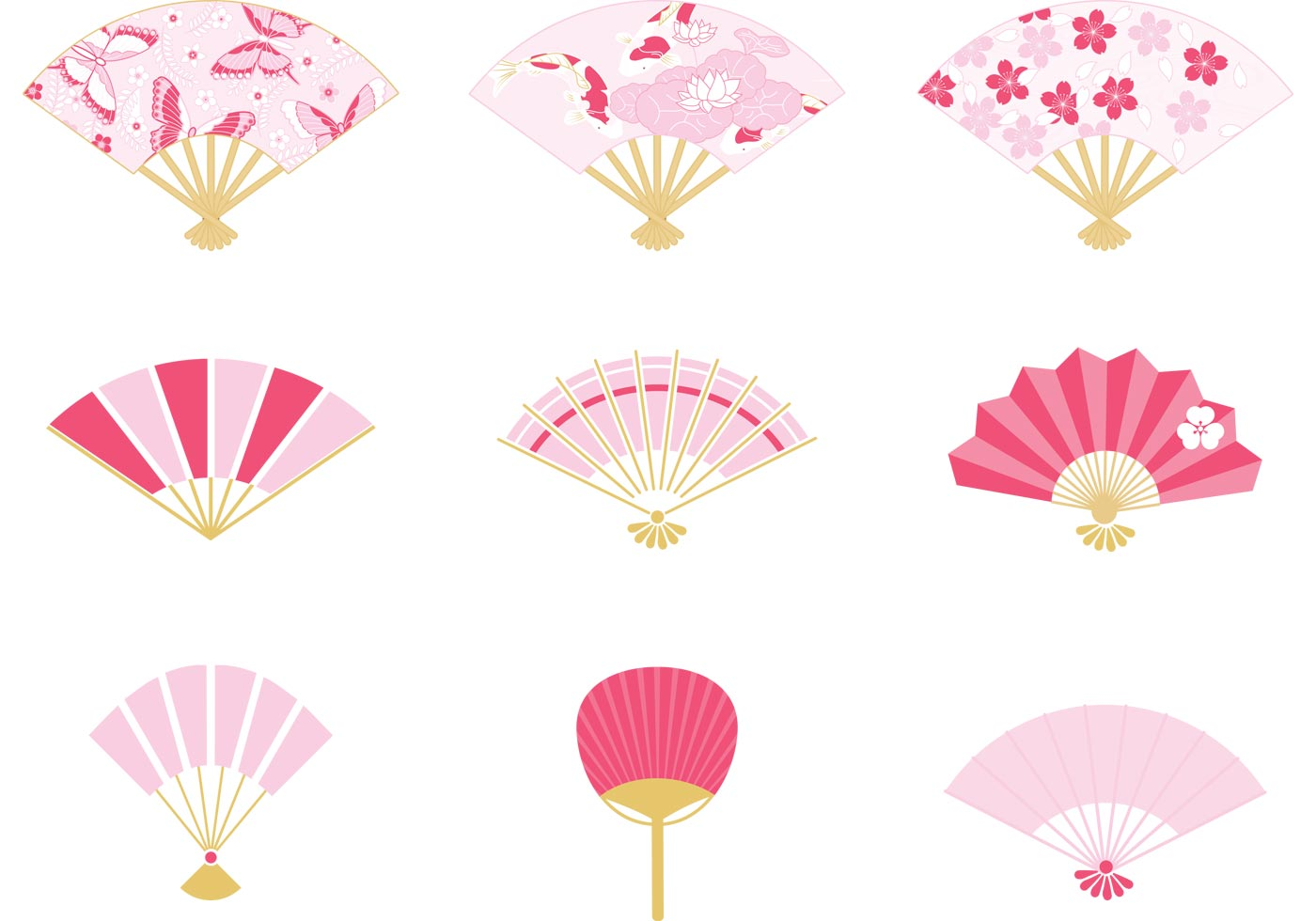 Japanese Fan Vector Pack - Download Free Vectors, Clipart ...