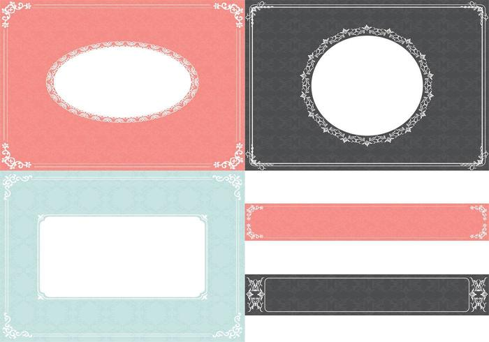 Vintage Ornament Background Vector and Label Vector Pack