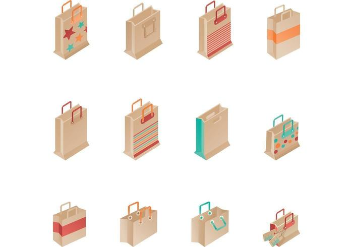 Brown Paper Shopping Bag Vectors