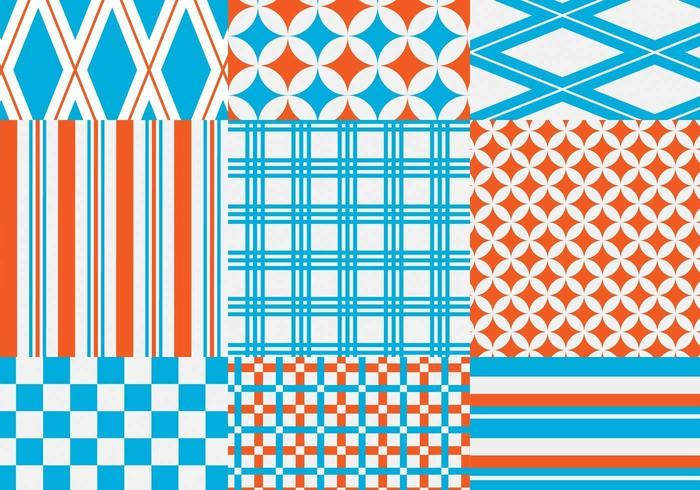 Orange and Blue Geometric Vector Pattern Pack