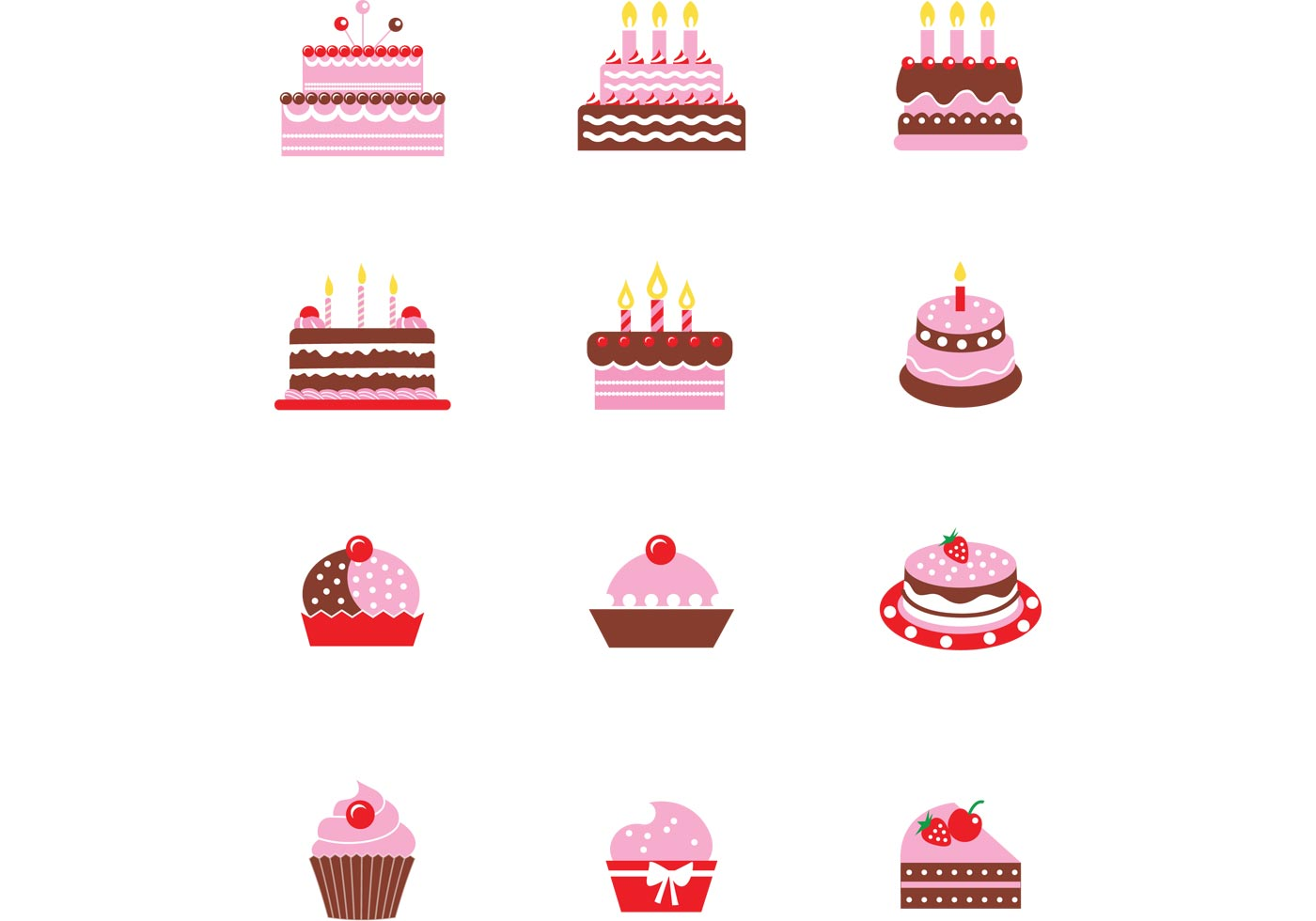 Chocolate Cake Vector Pack Download Free Vectors