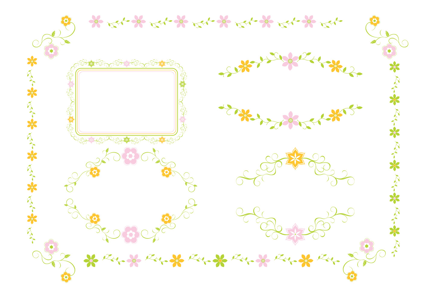 Floral Ornament Vector Free: Pink And Green Floral Ornament Vector Pack