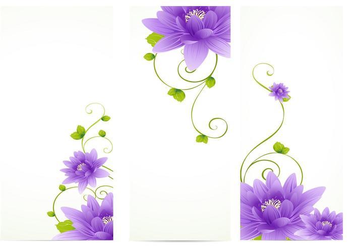 Purple Flower Banner Vector Pack
