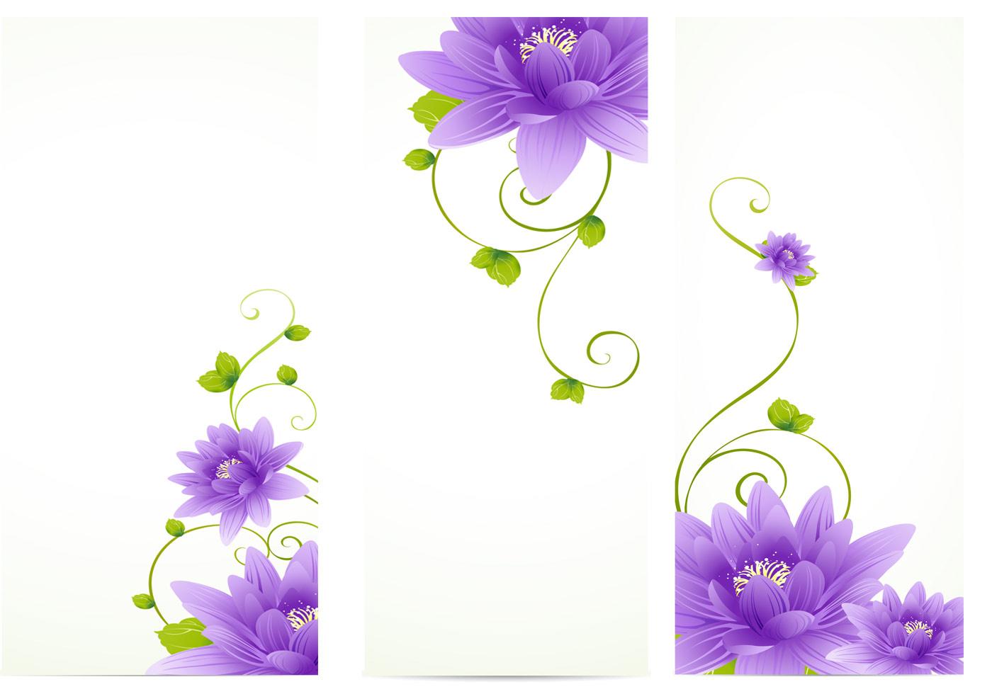 Purple Flower Banner Vector Pack - Download Free Vectors ...