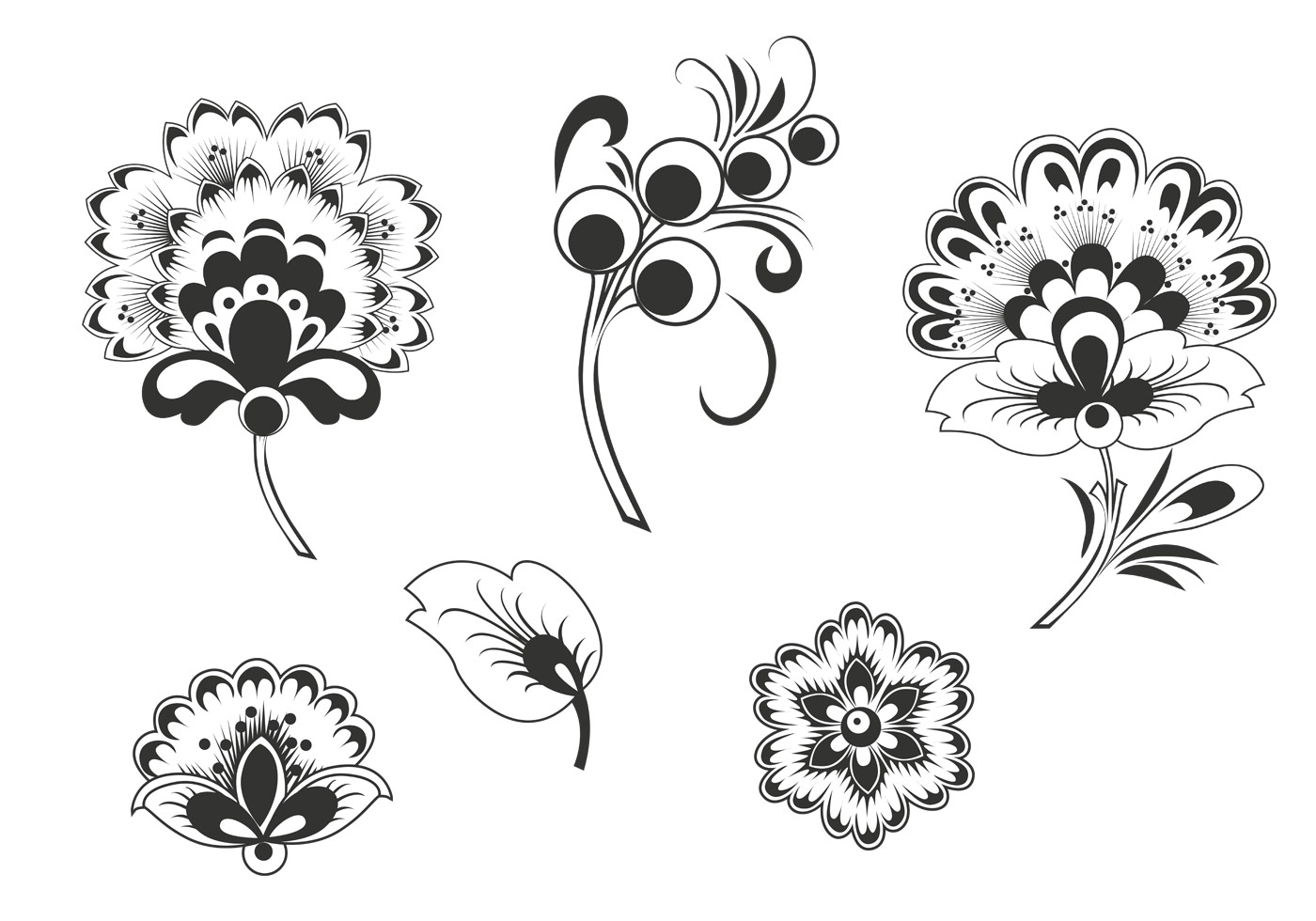 Black And White Floral Vector Pack Download Free Vector Art Stock