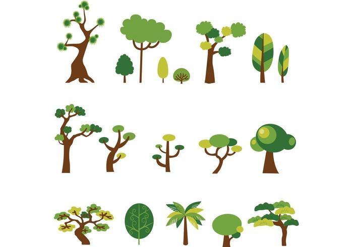 Pack de vectores de árboles de dibujos animados