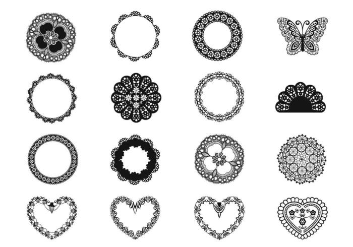 Laço e Doily Vector Elements