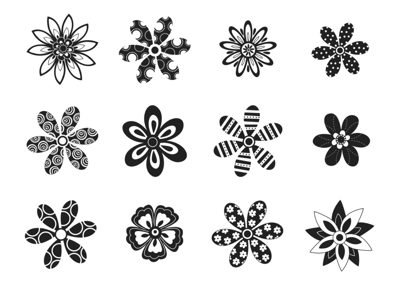 Decorative Black and White Flower Vector Pack - Download ...