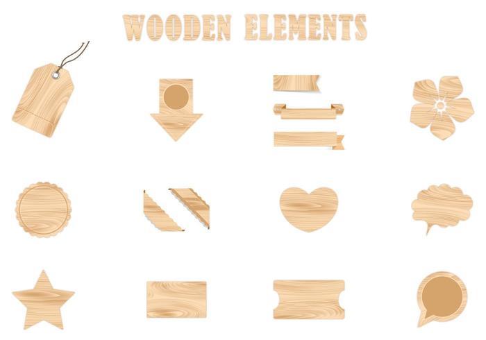Wooden Vector Elements Pack