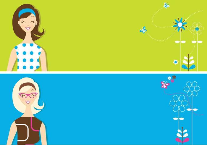 Retro Girls Banner Vector Pack