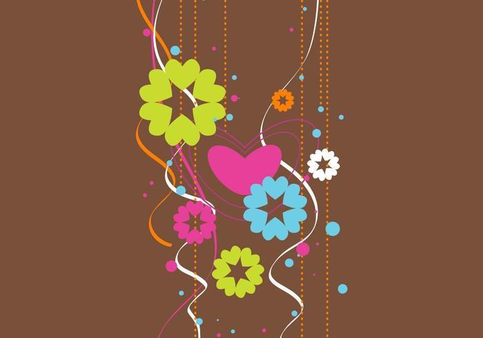 Funky vector de corazón floral