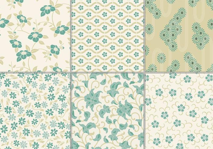 Dusty Teal Floral Vector Background Pack
