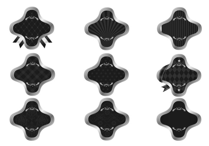 Pacote de vetores de etiqueta padrão de prata e preto