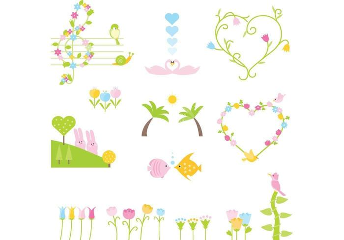 Cute Cartoon Animal and Floral Vector Pack