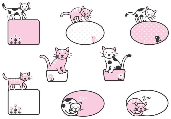 Gullig kattetikettvektorpaket!