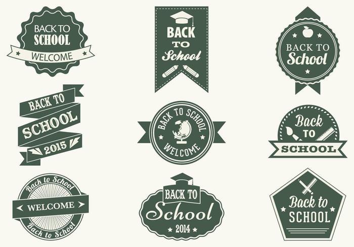 Vintage Back to School Label Vector Pack