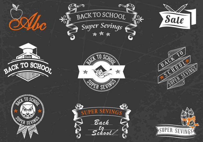 Back to School Chalkboard Badges Vector Pack