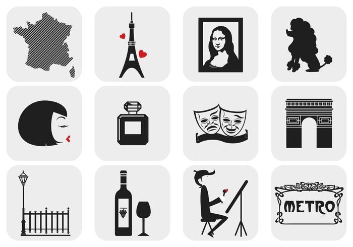 París, Francia Pack de elementos vectoriales
