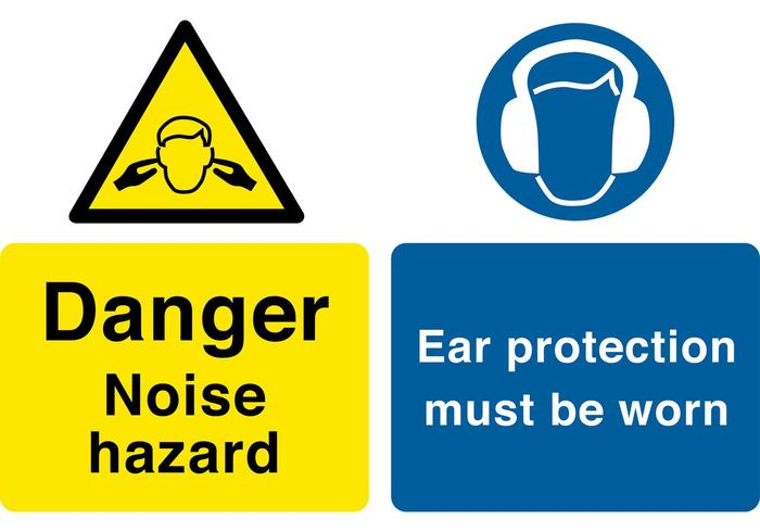 Danger - Noise hazard; Ear protection Sign Vectors