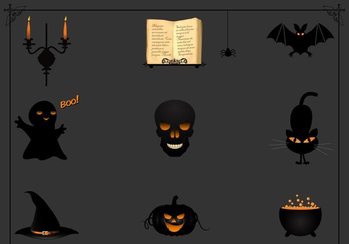 Icono de Halloween negro Vector Pack