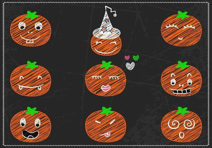 Chalk Drawn Jack-o-lantern Vector Pack