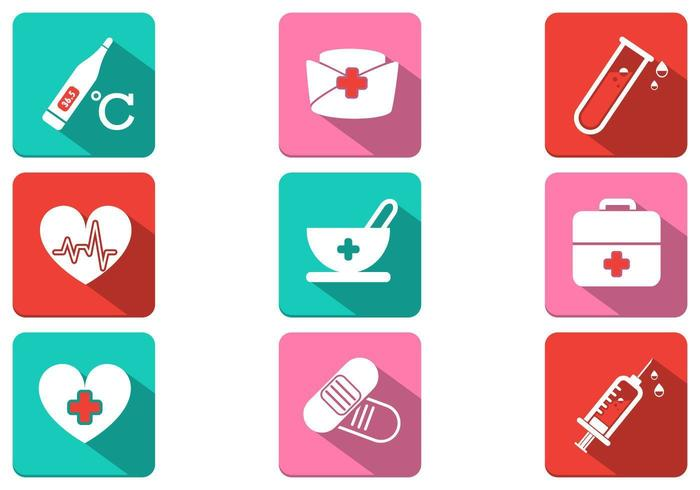 Long Shadow Medical Icon Vector Pack
